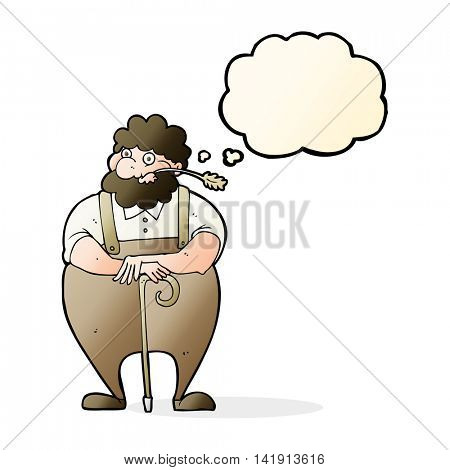 cartoon farmer leaning on walking stick with thought bubble