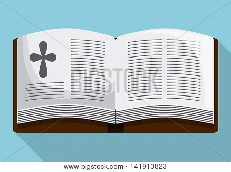bible book cross icon. First communion concept. Flat and Colorfull illustration. Vector graphic
