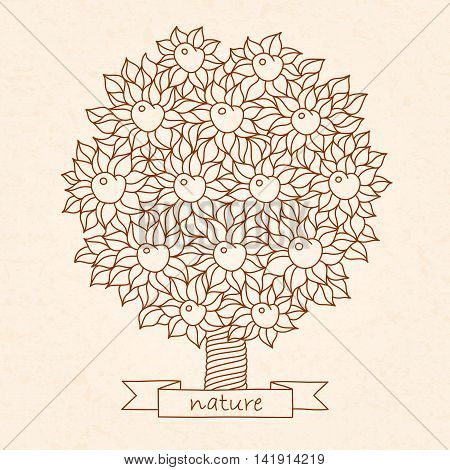 vector hand drawn apple tree in boho style with texture of paper. May be used as a print for adult anti stress coloring page, T-shirt design.