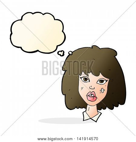 cartoon woman with bruised face with thought bubble