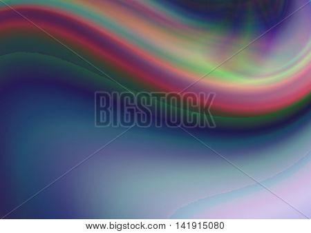 Turbid  blue purple background coated rainbow convex wave