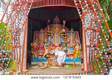 KOLKATA INDIA - OCTOBER 21 2015 : Beautifully interior of decorated Durga Puja pandal at Kolkata West Bengal India. Durga Puja is biggest religious festival of Hinduism.