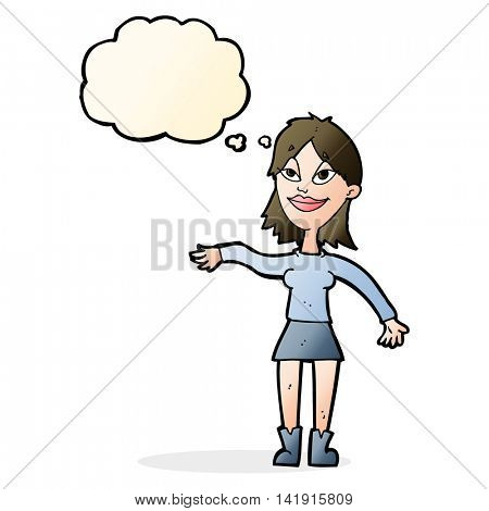 cartoon woman making hand gesture with thought bubble