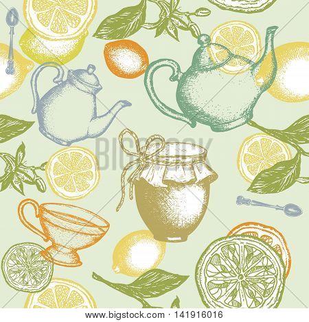 Tea seamless pattern teapot lemon jam jar hand drawn ink vector