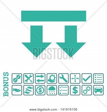 Bring Down icon with bonus pictograms. Vector style is flat iconic symbol, cobalt and cyan colors, white background. Bonus style is bicolor square rounded frames with symbols inside.
