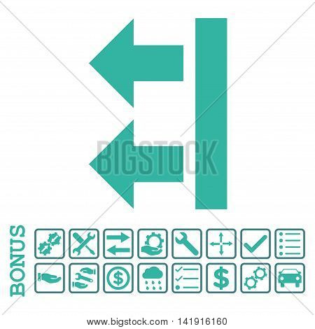 Bring Left icon with bonus pictograms. Vector style is flat iconic symbol, cobalt and cyan colors, white background. Bonus style is bicolor square rounded frames with symbols inside.