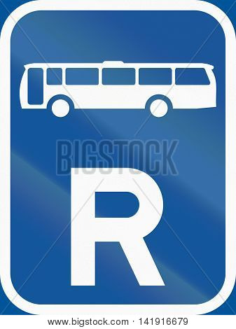 Road Sign Used In The African Country Of Botswana - Reservation For Buses