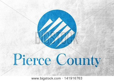 Flag Of Pierce County, Washington, Usa, Painted On Leather Texture