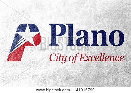 Flag Of Plano, Texas, Usa, Painted On Leather Texture