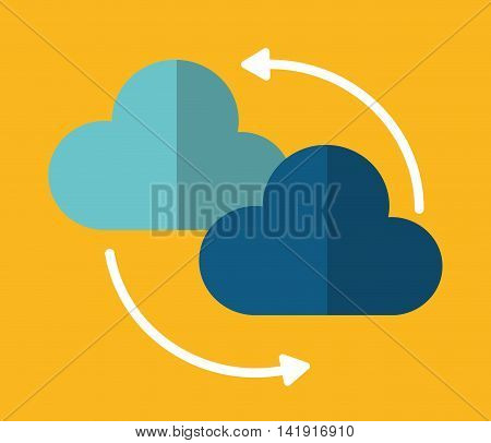 Cloud arrow data center web hosting cloud computing icon. Flat and Colorfull illustration. Vector graphic