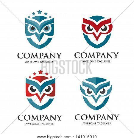 creative owl logo set vector design template