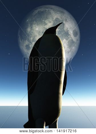 Penguin and moon 3D Render Elements of this image furnished by NASA