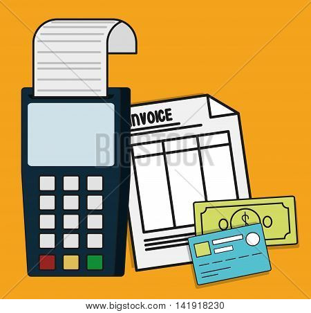 dataphone document paper bills credit card invoice payment icon. Flat and Colorfull illustration. Vector graphic