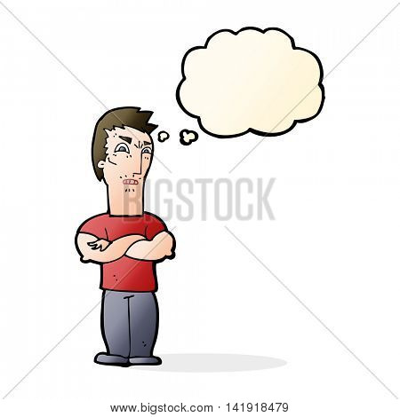 cartoon annoyed man with folded arms with thought bubble