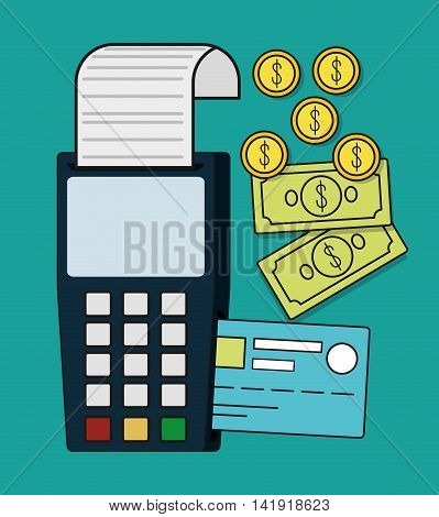 dataphone bills coins credit card invoice payment icon. Flat and Colorfull illustration. Vector graphic
