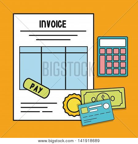 document calculator paper credit card bills invoice payment icon. Flat and Colorfull illustration. Vector graphic