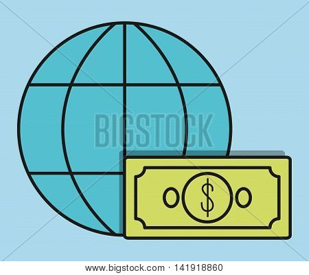global sphere bill invoice payment icon. Flat and Colorfull illustration. Vector graphic