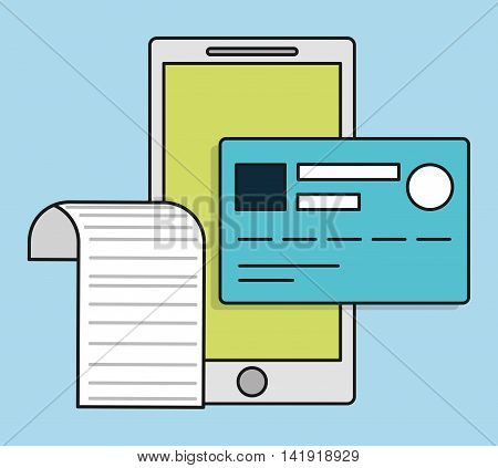 smartphone credit card invoice payment icon. Flat and Colorfull illustration. Vector graphic
