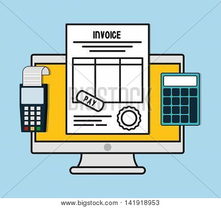 computer dataphone calculator document paper invoice payment icon. Flat and Colorfull illustration. Vector graphic