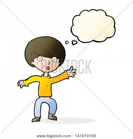 cartoon panicking boy with thought bubble