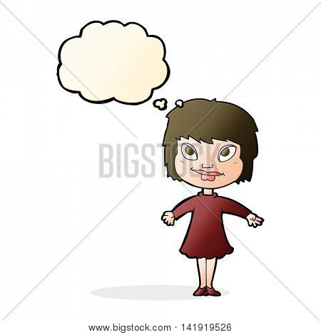 cartoon girl shrugging shoulders with thought bubble