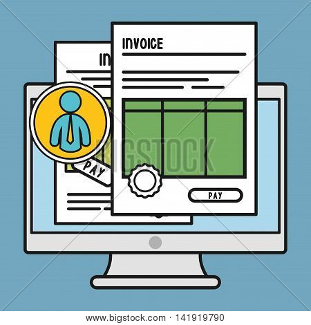 computer document paper invoice payment icon. Flat and Colorfull illustration. Vector graphic