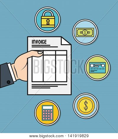 padlock bill credit card coin calculator document invoice payment icon. Flat and Colorfull illustration. Vector graphic