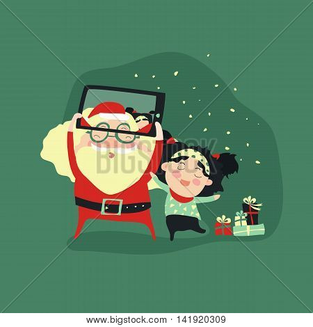 Hipster santa claus and little girl selfie with smartphone for merry christmas. Vector illustration