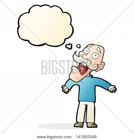 cartoon terrified old man with thought bubble