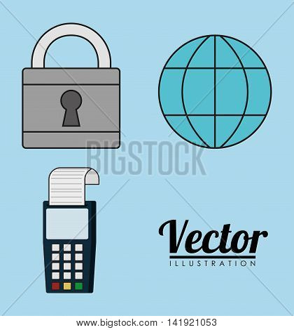 global sphere padlock dataphone invoice payment icon. Flat and Colorfull illustration. Vector graphic