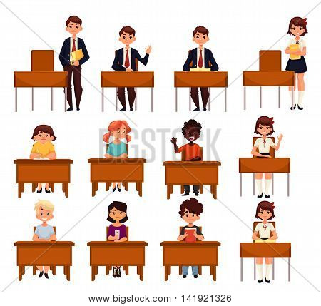 Set of school boys and girls sitting at their desks in the classroom cartoon style illustration isolated on white background. Diverse students in class, lesson in primary secondary school