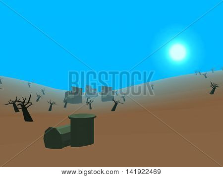 Low poly retro style moorland with sun, 3D illustration