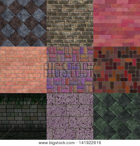 Set of brick pavement generated textures or background