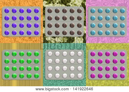 Set of tablets generated textures, 3D illustration