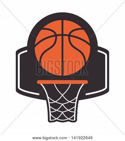 flat design basketball backboard and net icon vector illustration