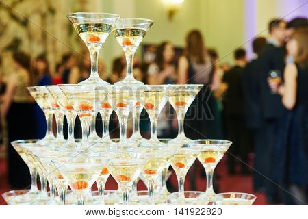 Champagne pyramid on event, party or banquet