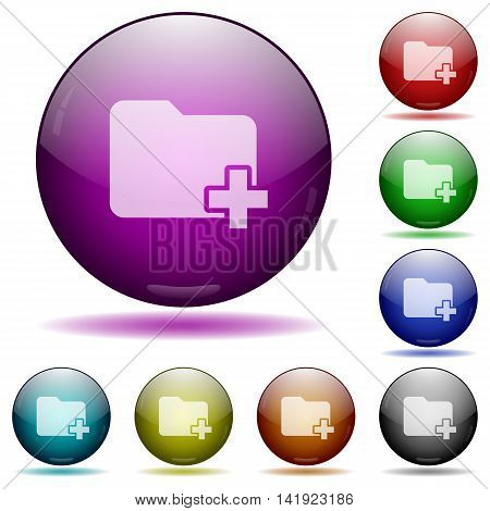 Set of color Add new folder glass sphere buttons with shadows.