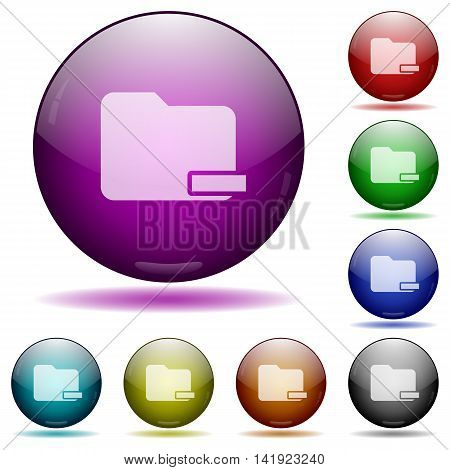 Set of color Remove folder glass sphere buttons with shadows.