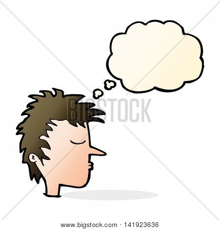 cartoon male face with thought bubble