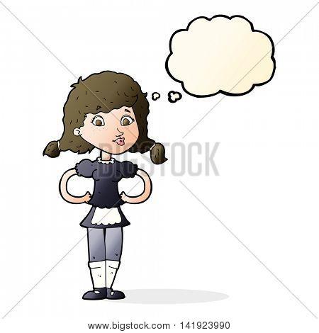 cartoon happy waitress woman with thought bubble