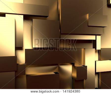 Shiny brushed metal tiles. Golden metallic material. 3d rendering