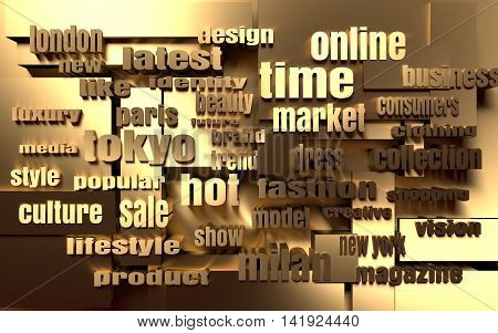 Relative to Fashion Keywords Tag Cloud. 3D rendering. Metallic material backdrop
