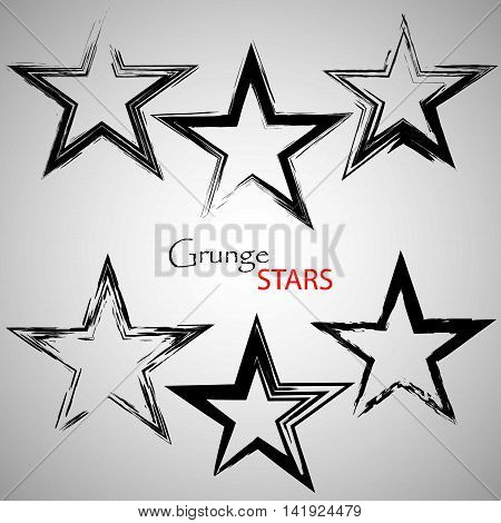 Set vector grange stars. Vector illustration. Scratched, textured grainy