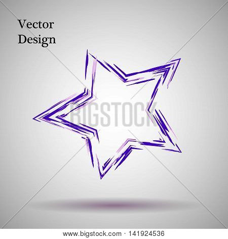 Purple, lilac grange star Vector illustration. Ink object