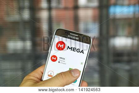 MONTREAL CANADA - JULY 7 2016 : Mega - online storage on android cell phone. Mega is a cloud storage and file hosting service produced by Mega Limited.