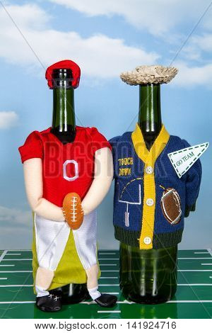 An American football themed wine bottle cover still life
