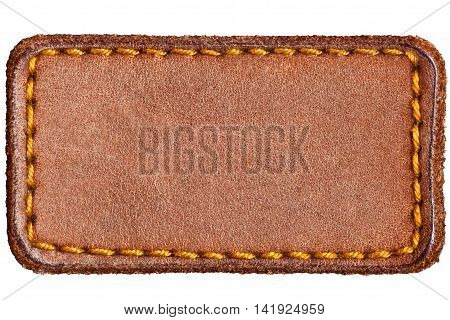 Light Blank Natural Leather Jeans Tag Label Isolated Closeup