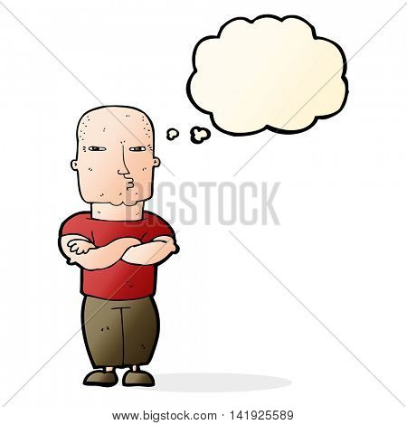 cartoon tough guy with thought bubble