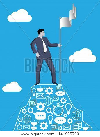 Business concept of reaching success peak and claiming ground. Businessman setting flag of his team on the top of the mountain claiming the ground and conquering his market share.