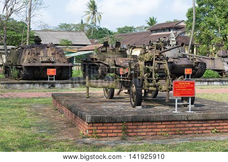 HUE, VIETNAM - JANUARY 08, 2016: Exhibition of captured military equipment in the city of Hue. Historical landmark of the Vietnam